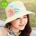 2016 corea primavera dulce sol de verano de flores mujeres de paja sombrero de señora de sombreros de playa niñas plegables pescador caps sombrero de sol