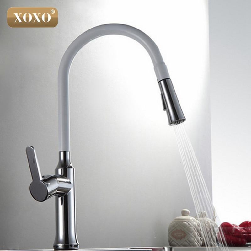 XOXO Creative Chrome Brass Kitchen Faucet Single Hole Deck Mount Pull Out Kitchen Mixer Taps Dual Sprayer 83012