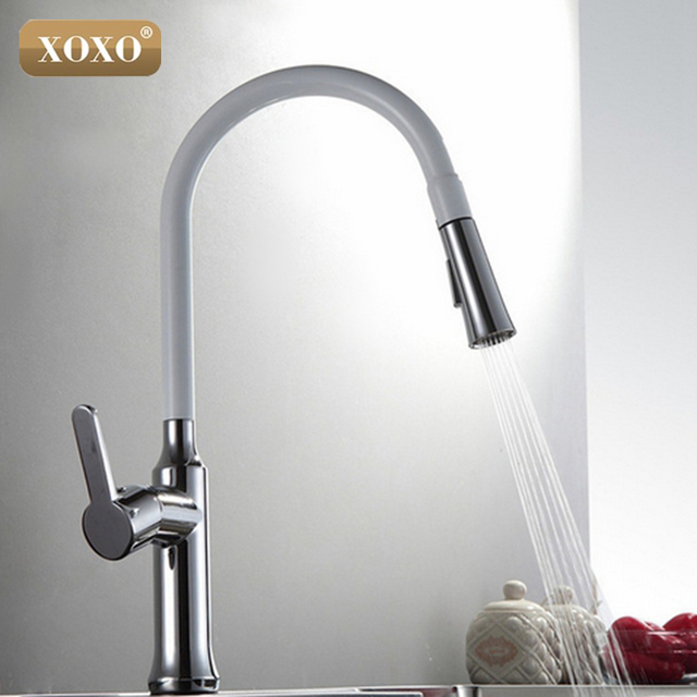XOXO Creative Chrome Brass Kitchen Faucet Single Hole Deck Mount Pull Out  Kitchen Mixer Taps Dual
