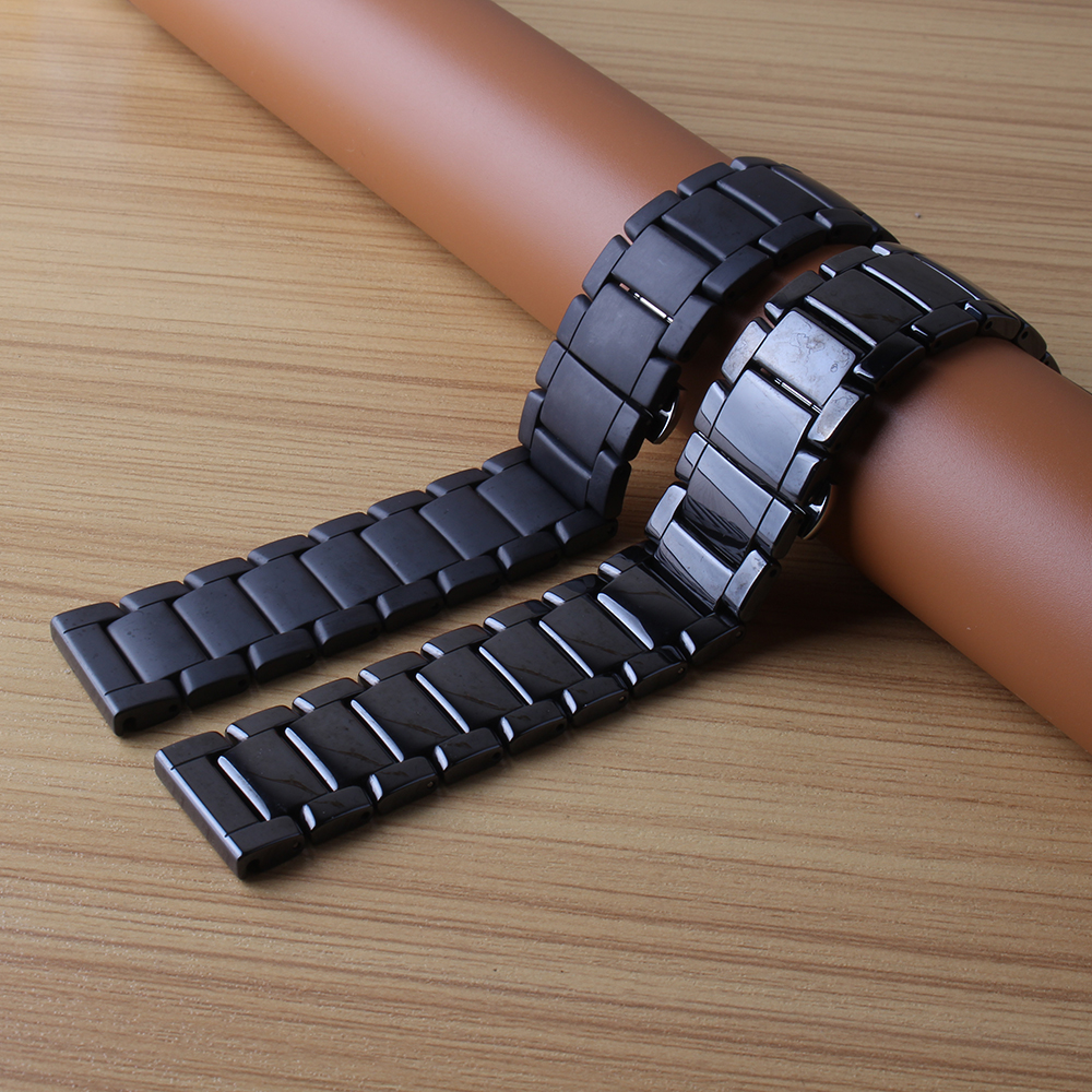 Replacement high quality Watchband Ceramic Black Matte polished Watch strap bracelet 22mm longer for men wrist bands new 2017 22mm new watchbands high quality ceramic watchband black diamond watch fit ar1406 man watches bracelet watch strap watchband