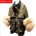 2017 new autumn winter fashion women high-quality military green lapel real fox cuffs long windbreaker paragraph jacket coat