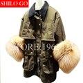 2017 nueva otoño invierno moda mujeres de alta calidad militar solapa verde verdadero zorro puños largo párrafo cazadora chaqueta de la capa