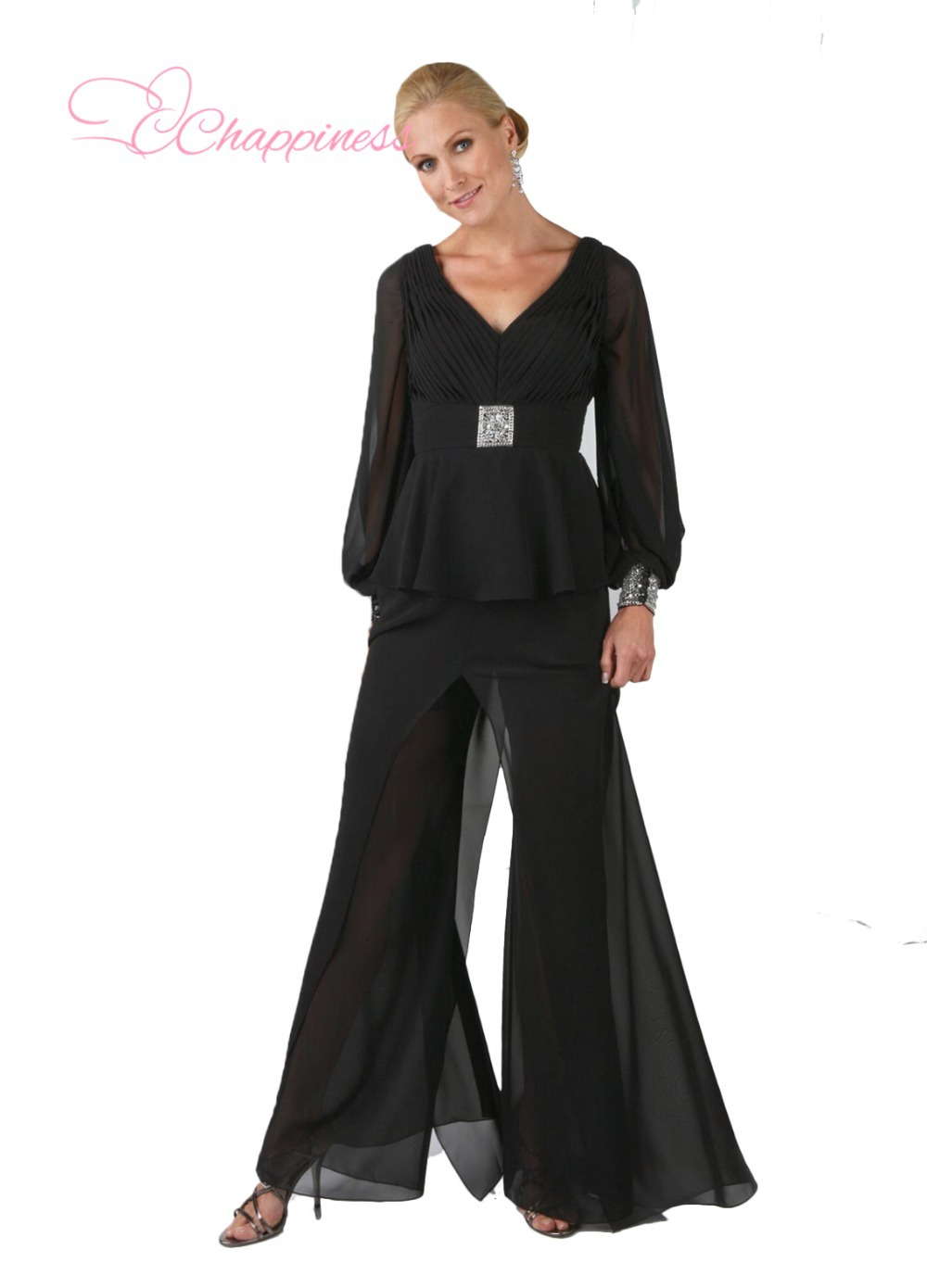 Hot Custom Cheap Black Mother Of Bride Pant Suits Size Women Chiffon Dress-in