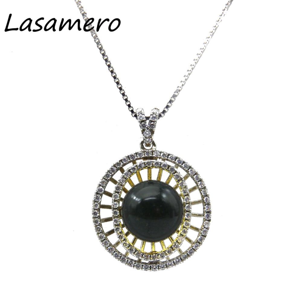 LASAMER 10.5mm rond coupe ambre solide 925 bijoux en argent Sterling marque de bijoux de mode femmes pendentif colliers