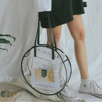 Fashion Clear Handbag Tote Beach Bag Popular Large Round Shoulder Bags 3D Circle Holiday Women Bag Brand Transparent Jelly Bag