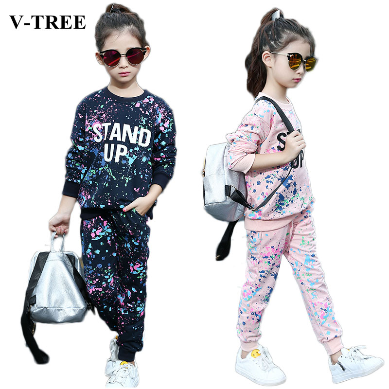 V-TREE Autumn Girls Clothing Set Inked Sport Suit For Girl Children Clothes Sets 10 12 Age Teenager Roupa Kids Tracksuit retail 2pcs brand new design girls clothing sets for kids autumn tracksuit for girls velvet jacket pants children sport suit