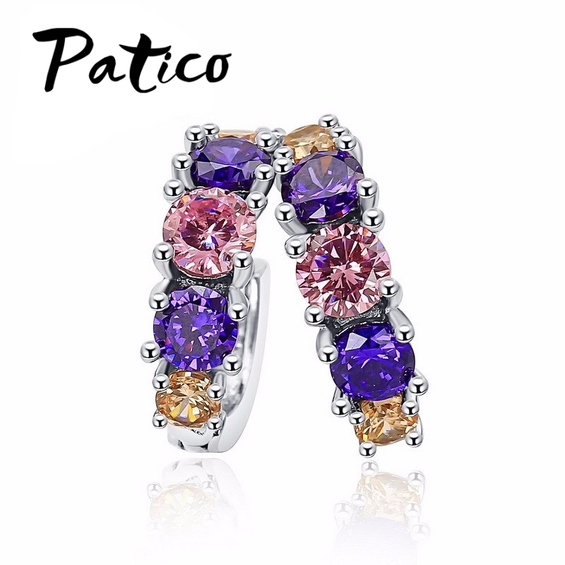 Luxury 925 Sterling Silver Earring For Women Round Circle Pink CZ Cubic Zirconia Hoop Earrings Brincos Piercing Ear Accessories