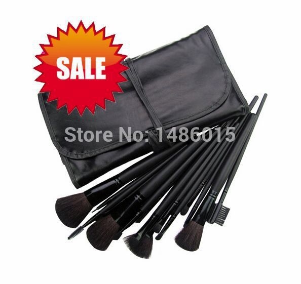 12pcs/lot Professioal Makeup Brush Set with Black Leather Case Eyeshadow Eyebrow Sponge Make Up Brushes 2 Color Makeup Brushes