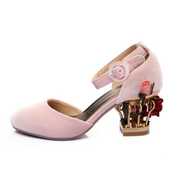 Pink Low Heel Wedding Shoes: Vintage Flower Heels Mary Janes Pump For Women Pink Velvet