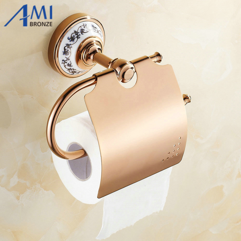 Rose Golden Paper Holders Porcelain Wall Mounted Bathroom Accessories hardwares 7002RP red