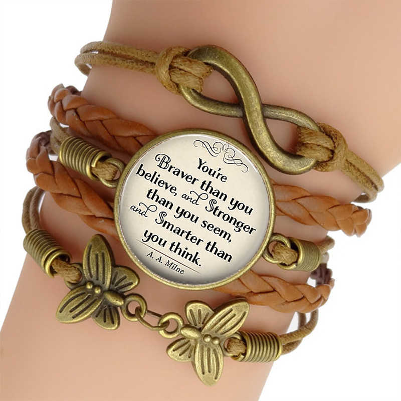 You're Braver Than You Believe Quote Men Punk Braided Leather Bracelets Bangles Inspirational Fashion Accessories Jewelry Gift