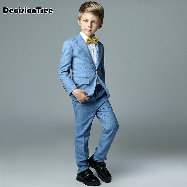 2019 new boys plaid wedding suits england style gentle boys formal tuxedos suit kids clothing set blazer suit for party