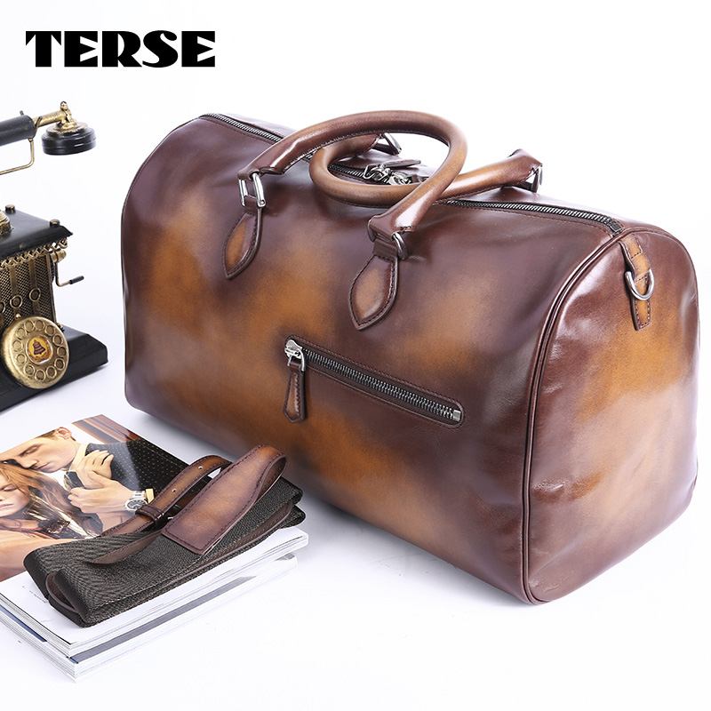 TERSE_Tobacco boston bag large capacity handmade mens tote bag with shoulder strap travel bag top genuine leather handbag