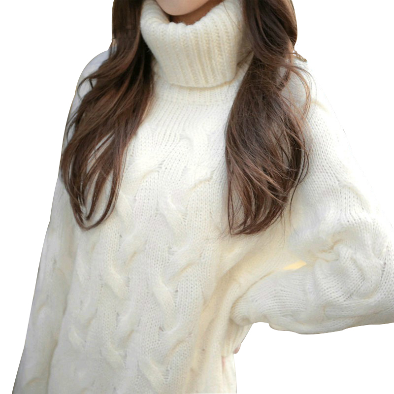 Women Chunky Knitted Sweater Turtleneck High Neck Sweater Long Sleeve Winter Warm Pullovers Long Loose Baggy Dress White rugod 2018 new knitted winter dress women pullovers fashion sweet solid o neck long sleeves pull femme christmas sweater dress