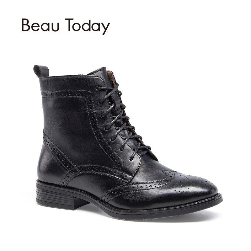 BeauToday Botas de piel de becerro genuinas Calzones a media pierna estilo Brogue Zapatos hechos a mano con cordones Cremallera de cuero de grano entero Chic 03039
