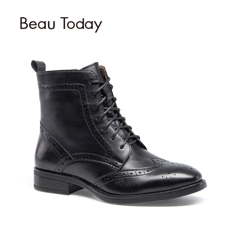 BeauToday Genuine Calfskin Boots Women Brogue Style Handmade Shoes Lace Up Zipper Full Grain Leather Chic Martin Boot 03039 girls and ladies favorite white roller skates with full grain genuine leather dual lane roller skate shoes for adult skating