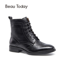 BeauToday Genuine Calfskin Boots Women Brogue Style Handmade Shoes Lace Up Zipper Full Grain Leather Chic Martin Boot 03039