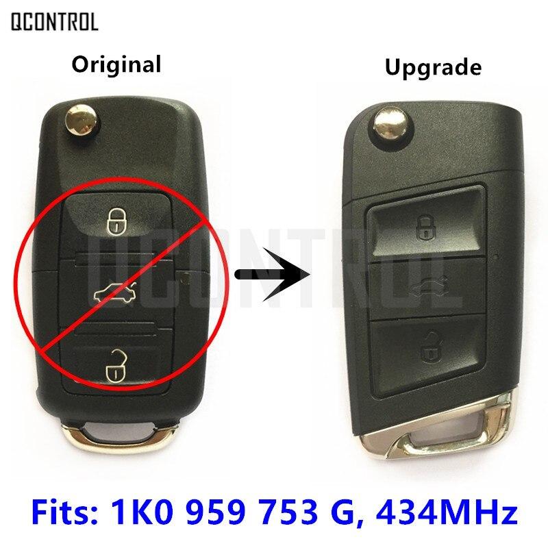 QCONTROL Upgrade Remote Key for SEAT Altea/Leon/Toledo 1K0959753G / 1K0 959 753 G / 753G 434MHz