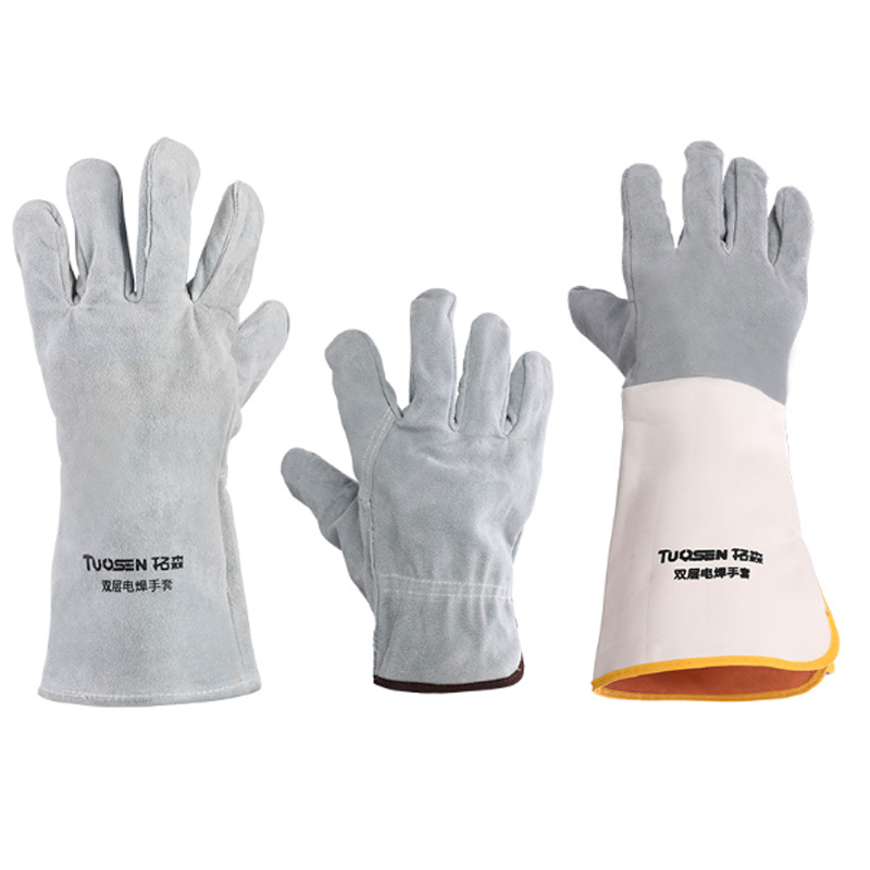 1 pair TIG Welding Gloves Soft Sensitive Gloves Single double layer Cowhide Cuff High Quality Welding Gloves