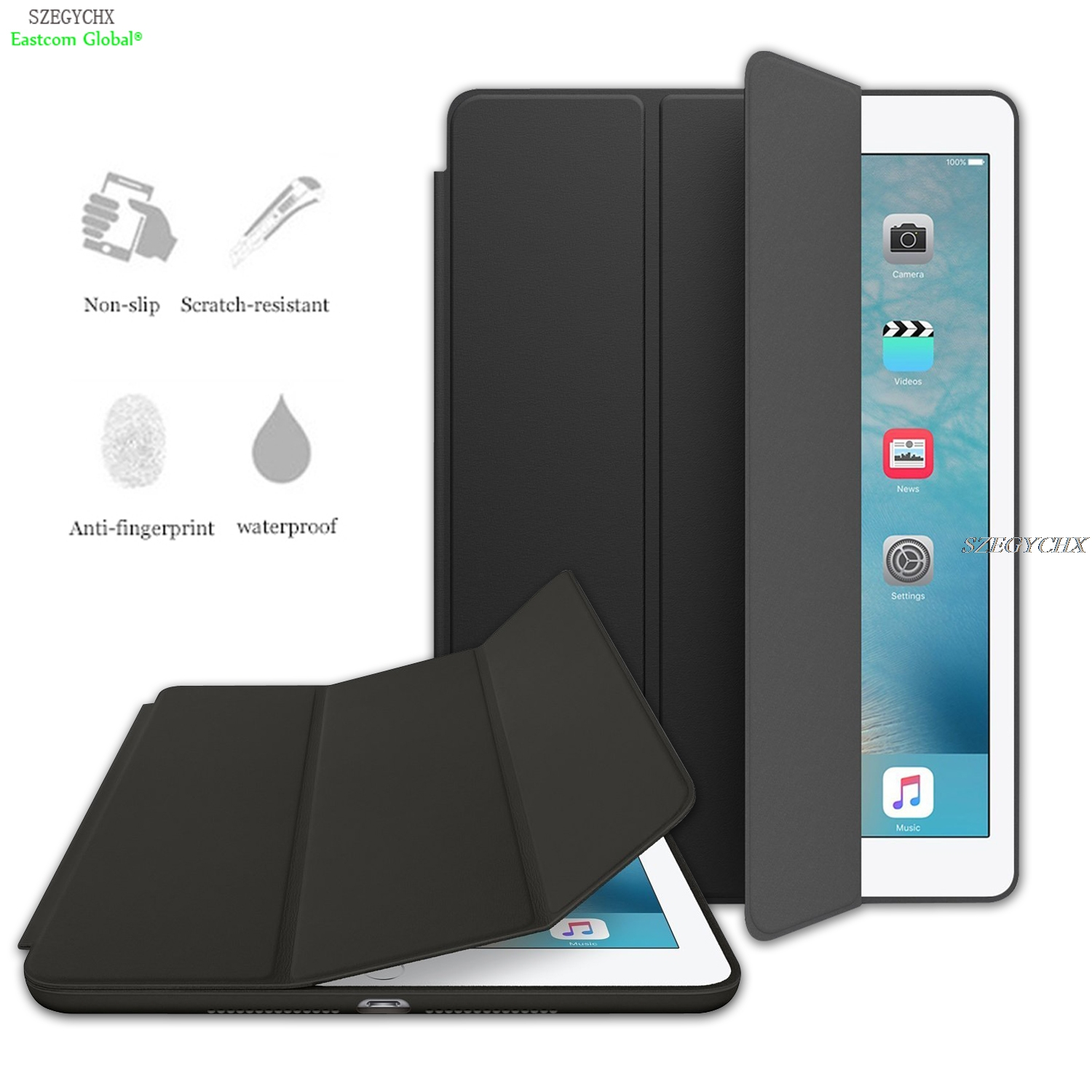 Case For apple iPad Air 1 Original 1:1 Ultra Slim Smart Cover Smart Stand For iPad 5 Auto Wake / Sleep with LOGO smart cover case for ipad kaku original official leather ultra thin stand cases for apple ipad air 1 2with wake up free shipping