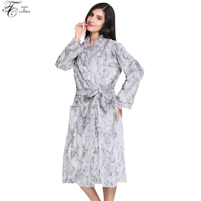 Tony Candice Women Sleepwear Thick Warm Bathrobe Fur V-Neck Nightgown For  Ladies Elegant Luxury Print Nightwear In Winter 07f49e775