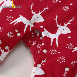 Image 5 - Pureborn Newborn Unisex Baby Romper Fleece Lined Hooded Baby Girl Clothing Baby Boy Winter Jumpsuit Outfit Christmas Costumes