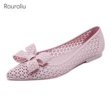 Rouroliu Women Summer Pointed Toe Jelly Shoes Bowknot Shallow Casual Flats Woman Non-Slip Hollow Out Beach Sandals FR97