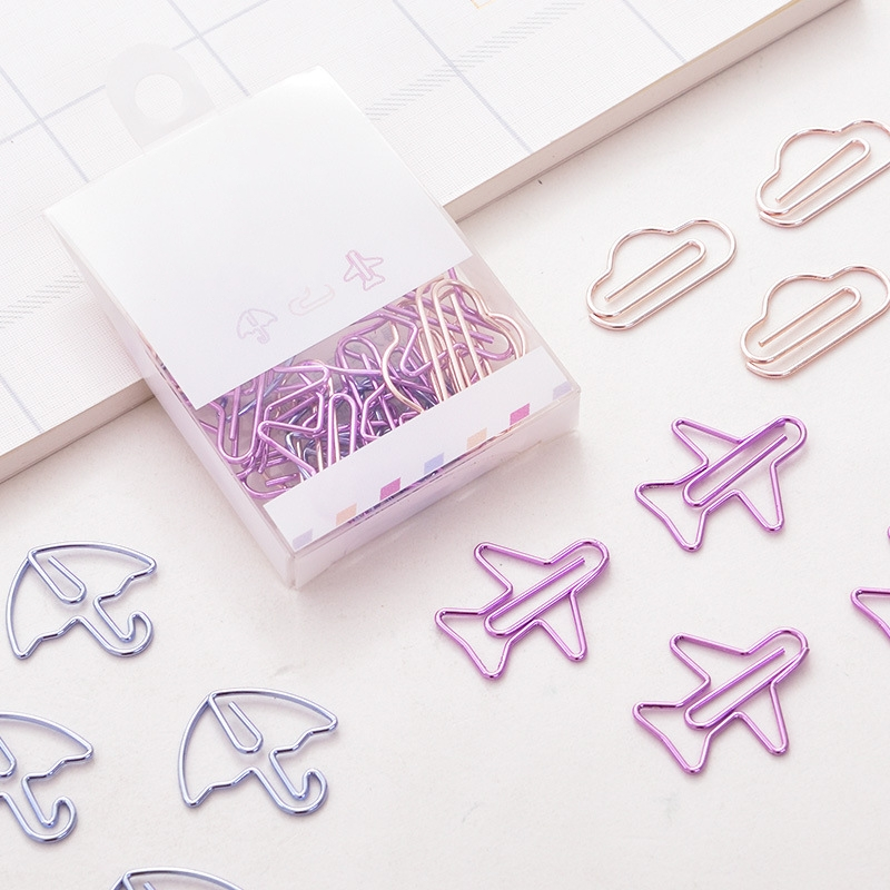 12pcs/lot Kawaii Cartoon Animals Plane Umbrella Shape Mini Paper Clips Clear Binder Clips Tickets Notes Letter Paper Clip