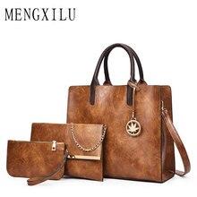 MENGXILU 2018 3 Set Women Bag Ladies Shoulder Bags Handbags Women Famous Brands Women's Leather Handbags Purse With Decoration