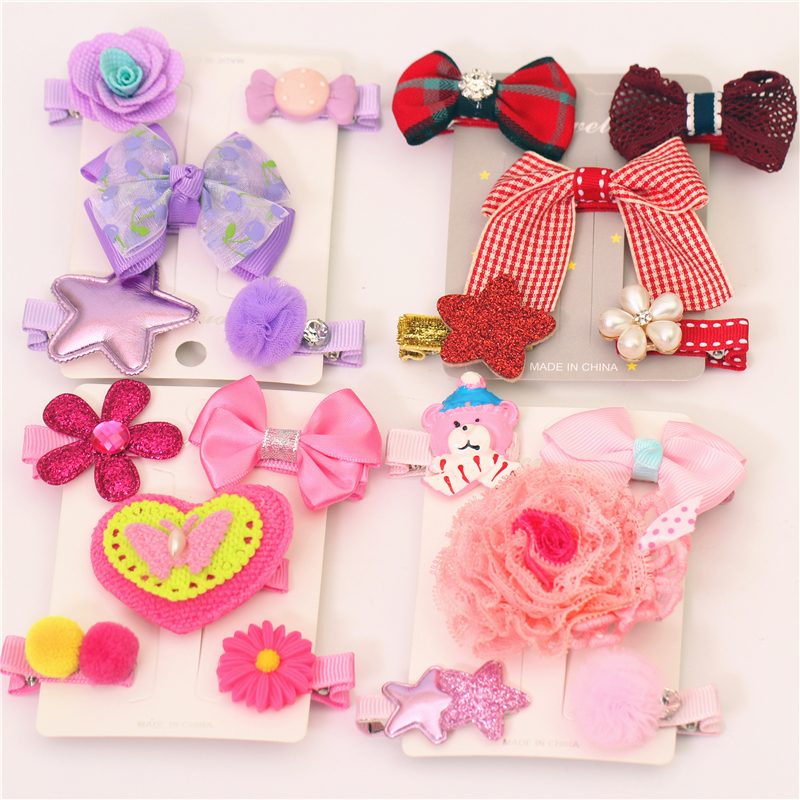 5pcs/set Butterfly knot fashion star  hairpin children cute flowers handmade headdress Girls jewelry accessory Hair clips  T-2 li yugang cross gender full set hair accessory for tang empress spring gala stage performance hair tiaras hair accessory set