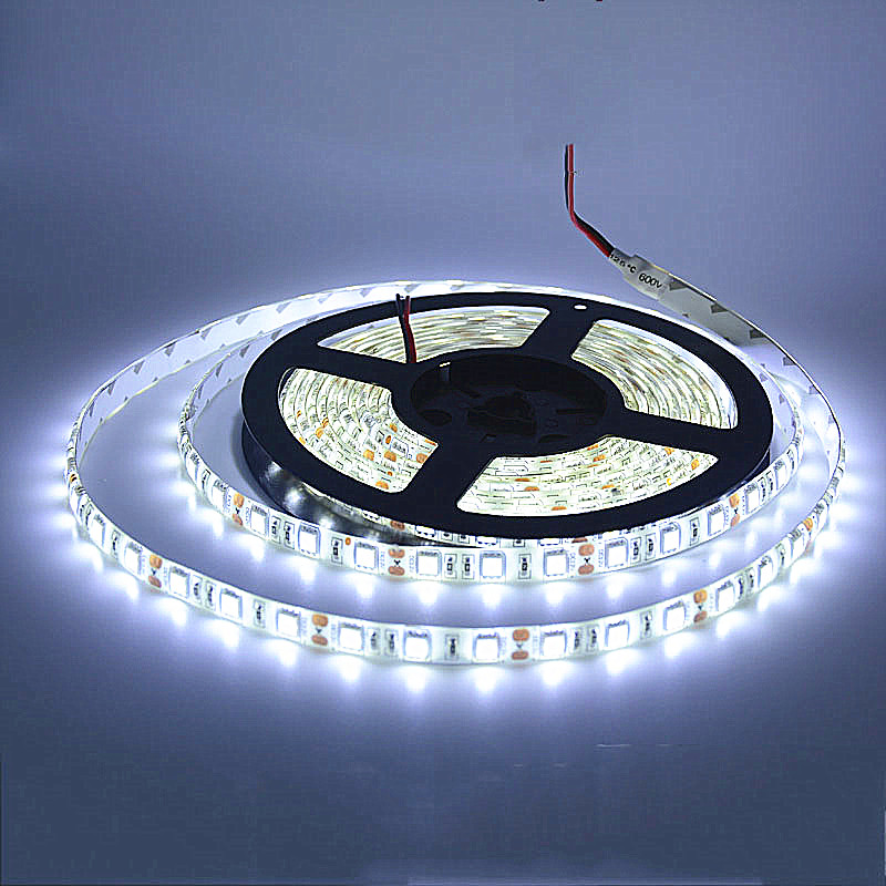 SPLEVISI 5M jalur LED 5050 60LED / M DC12V Flexible LED Light Strip RGB Panas Cool White membawa ruban luces led tiras