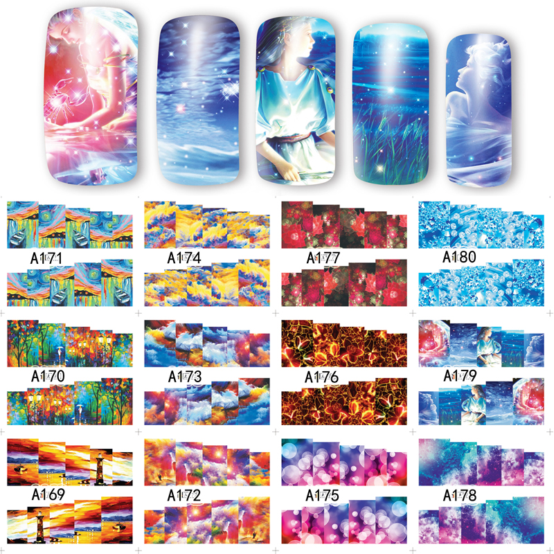 ̀ •́ 12 Sheets 12 Styles Painting Style Water Transfer Nail Art ...