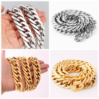 Strong Mens Boys Stainless Steel Cuban Curb Link Chain Bracelet Or Necklace 21mm Wide High Quality