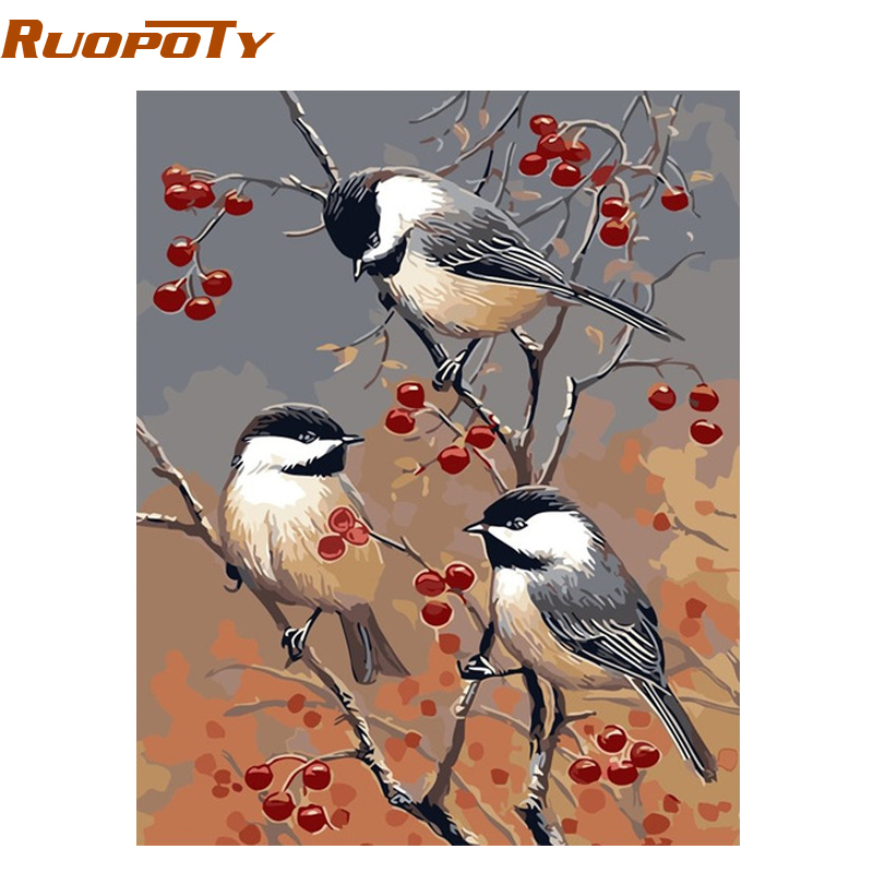 RUOPOTY Frame Three Birds DIY Painting By Numbers Animals Modern Wall Art Picture Unique Gift For Home Decor 40*50cm Artwork