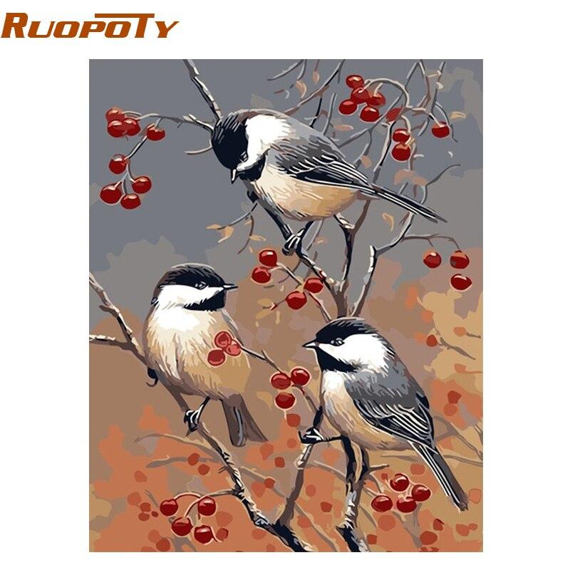 RUOPOTY Frame Tre Uccelli Pittura di DIY Dai Numeri Animali Moderni Wall Art Picture Regalo Unico Per La Decorazione Domestica 40*50 cm Opere D'arte