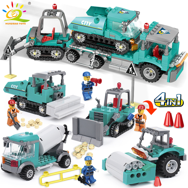 462pcs 4in1 Engineering Building Blocks Compatible legoing City Truck Excavator Bulldozer Vehicle Construction Toys For Children