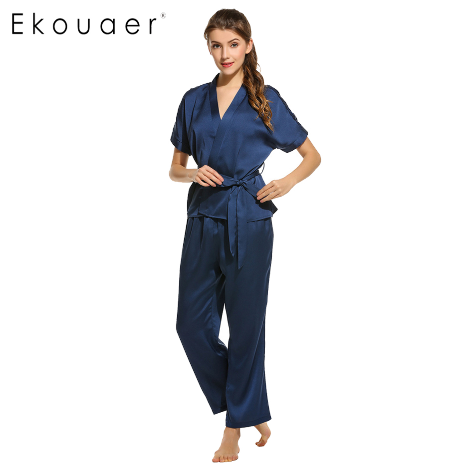e408e7e102 Ekouaer elegante conjuntos de pijama Sexy Kimono de satén con cuello en V  de la parte superior y pantalones ropa de dormir para mujeres boda novia  dama de ...
