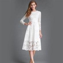 Neue 2016 Mode Aushöhlen Design Kleid Plus Größe Spitze für Frauen Vintage Kleid Schlanke Elegante Damen Abendgesellschaft Vestidos