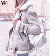 4233ef92be3 Зимние серые шерстяное пальто теплая верхняя одежда Для женщин флисовое  пальто с искусственным мехом теплая верхняя