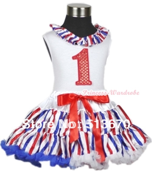 White Tank Top With Red White Royal Blue Stripe Lacing 1st Sparkle Red Birthday Number Red White Blue Striped Pettiskirt MAMG614 xmas white tank top 2nd sparkle red birthday number with red snowflakes ruffles