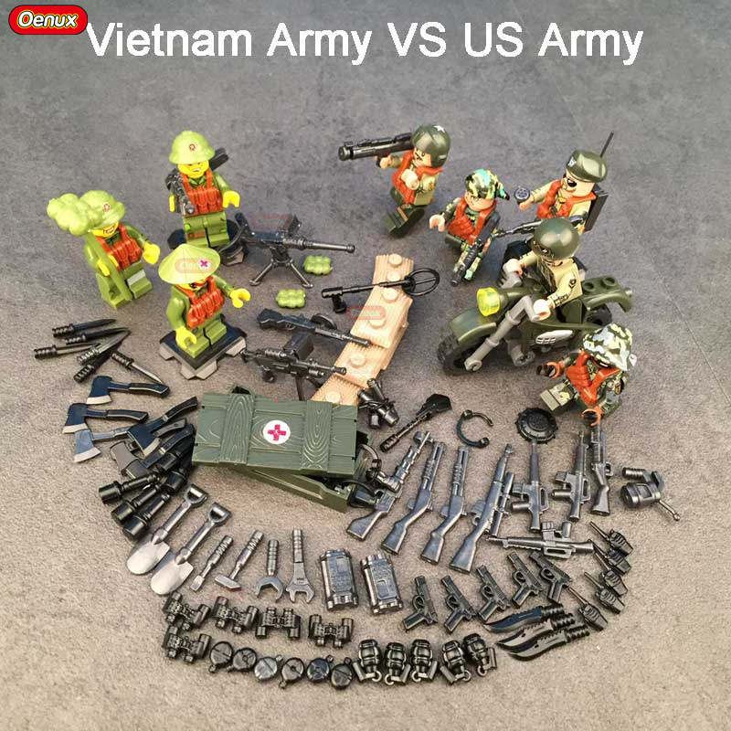 Oenux WW2 Vietnam War Military Model Building Block Viet Cong Army Vietnam Army Woman Soldiers US Army Figures Brick Toy For Kid ancient knight 28pcs set soldiers and horses medieval model toy soldiers figures