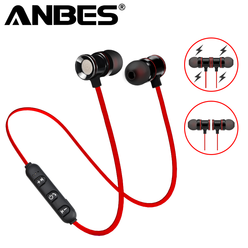 ANBES Wireless Bluetooth V4.1 Earphone Metal Magnetic Headphone Sport Headset Earbuds With Mic Handsfree Calls Fone de ouvido sport wireless earphone headphone earphones headphones headset music mp3 player tf card earbuds fm radio fone de ouvido l3fe
