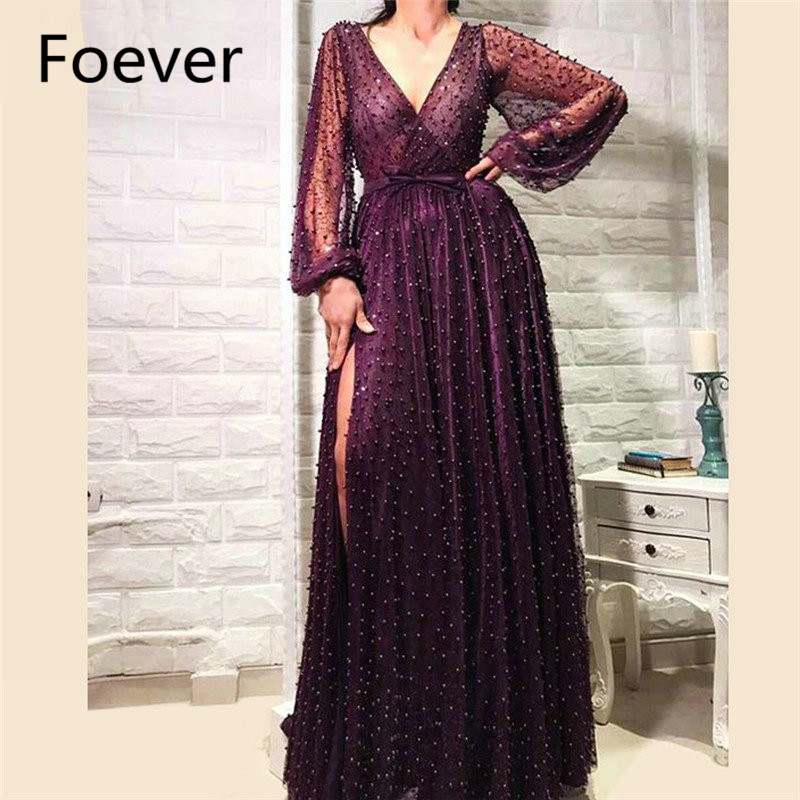 Sexy Illusion Long Sleeve Fashion Evening Dresses Deep V Neck Sexy Side Slit Dubai Pearls Formal Party Gowns