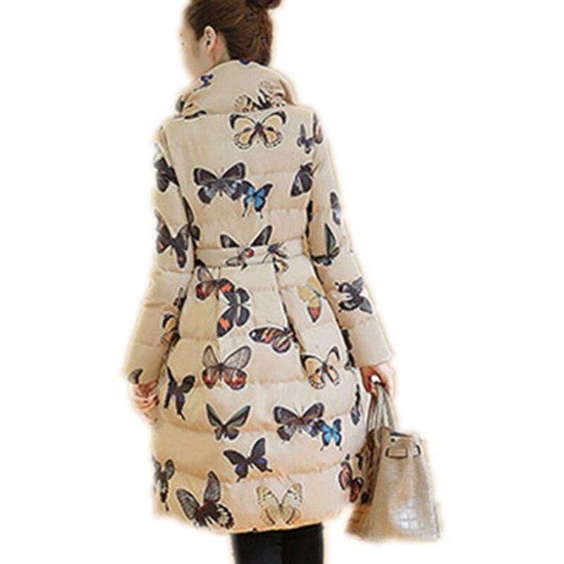 Chaude Lxt31 Nouvelle Plus Et Manteaux La Épaissir Beige Femelle black Taille Manteau Mode Long Imprimé Vestes Veste Moyen Parkas Papillon Hiver Uxz65w5n