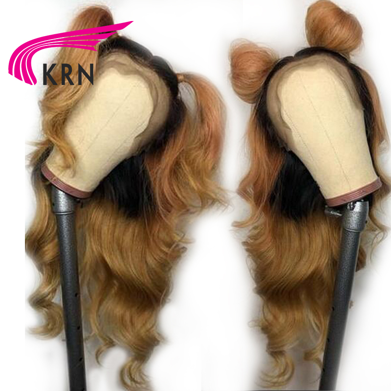 KRN 1B 27 Ombre Brazilian Lace Front Human Hair Wigs With Baby Hair Body Wave Remy