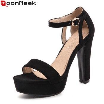 1bcf72b4 MoonMeek 2019 verano extremo zapatos de tacón alto zapatos de plataforma  zapatos con hebilla tacón fino