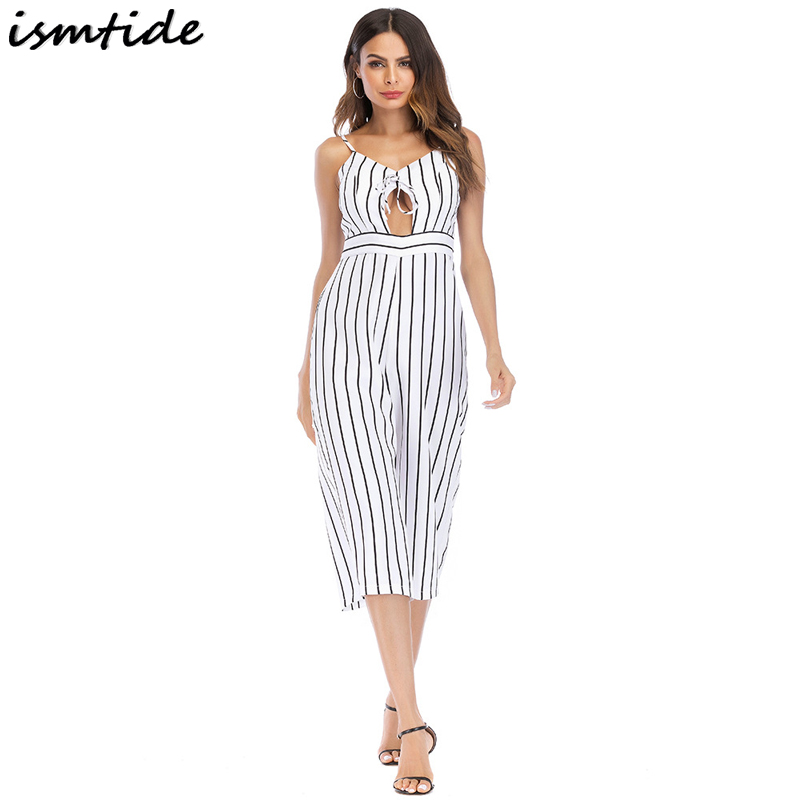 2018 Summer Women New Striped Wide Leg Jumpsuit Daily Fashion Elegant Sexy Casual Office ...
