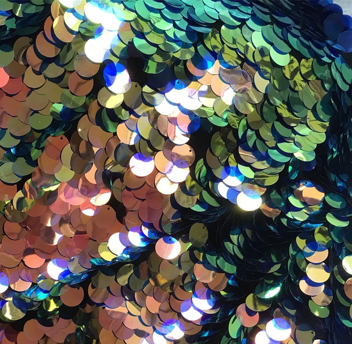 Laser or couleur magique vert violet grandes paillettes tissu écailles de poisson danse latine matériel de robe par yard Style sirène 2018