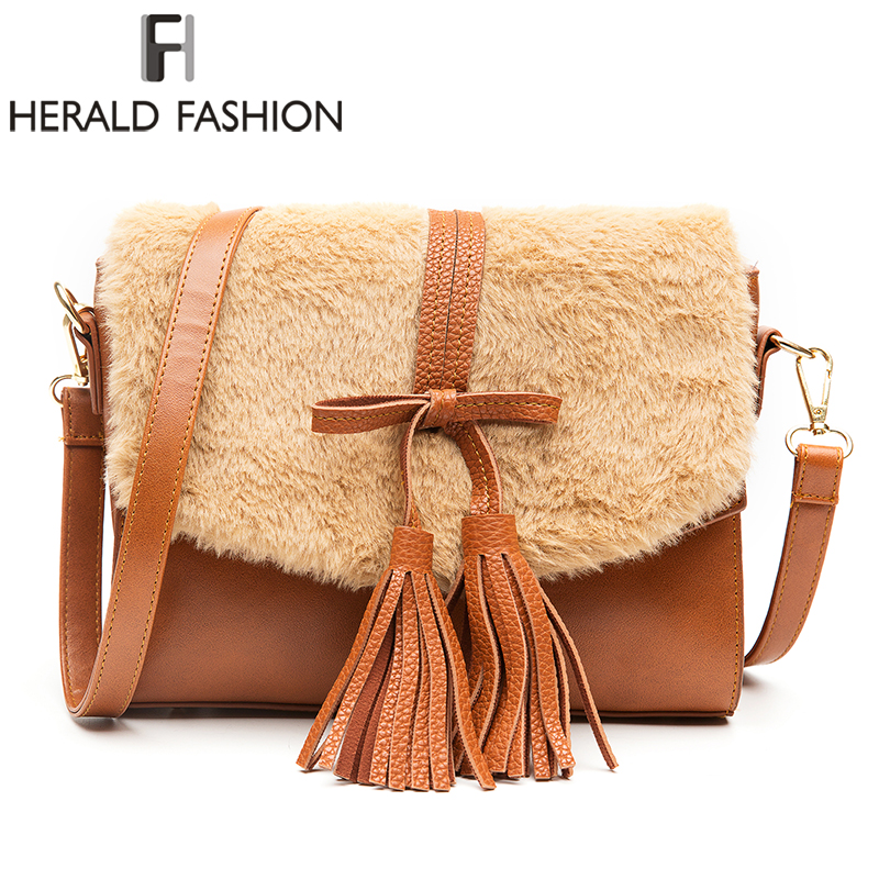 Herald Fashion Leather Flap Bag With Fur Casual Shoulder Bags Women Small Messenger Bags Vintage Ladies Handbag With Tassel