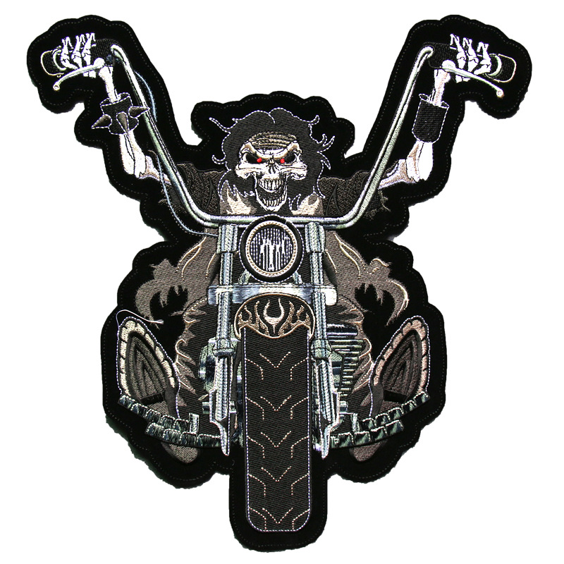 large size skull Motorcycle MC Biker Patches Embroidery motocross vest Jackets patch rider IRON- ON/sew Back on for vest